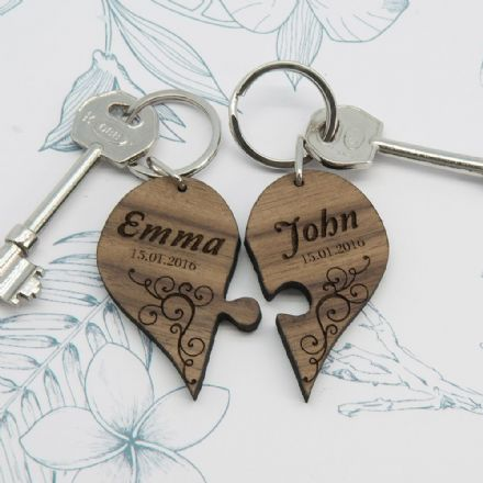 Personalised Couples' Romantic Joining Heart Wood Keyring